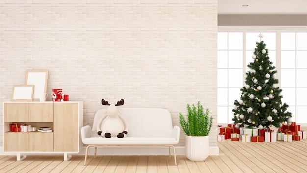 Muñeca de reno en el sofá de la sala de estar para el apartamento o la obra de arte en casa
