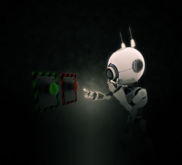 Muñeco mirando dos botones