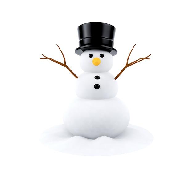Muñeco de nieve aislado sobre fondo blanco.