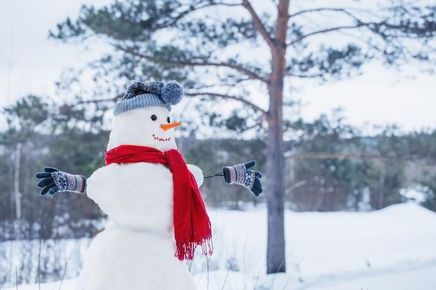 Muñeco de nieve en bufanda roja en bosque