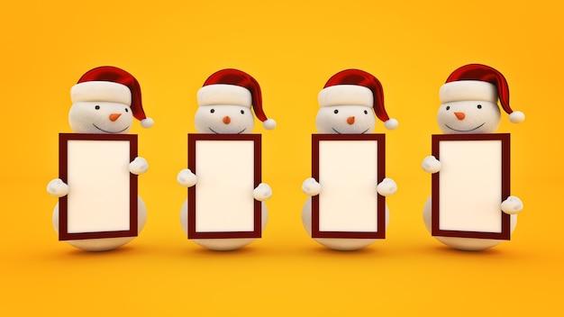 Muñeco de nieve con gorro de santa y tabla