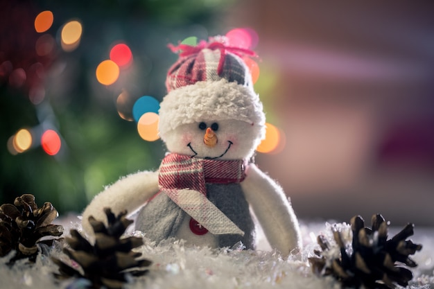 Muñeco de nieve y piña en la nieve