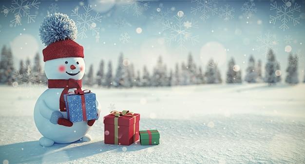 Muñeco de nieve con regalos de navidad en invierno azul