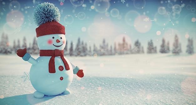Muñeco de nieve en rojo sobre nieve blanca suave