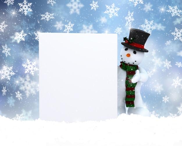 Muñeco de nieve con signo en blanco