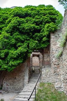 Murallas defensivas y fortificaciones de un castillo medieval.