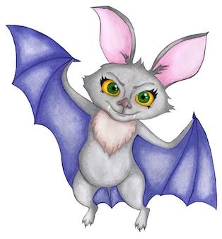 Un murciélago con grandes ojos amarillos y alas púrpuras sonríe cruelmente ilustración acuarela