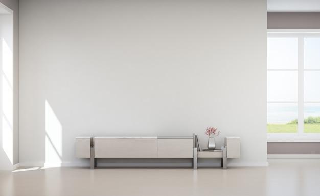 Muro de hormigón blanco vacío en casa de vacaciones o villa de vacaciones.