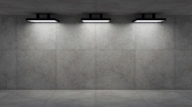 Muro de hormigón vacío con lámparas, render 3d