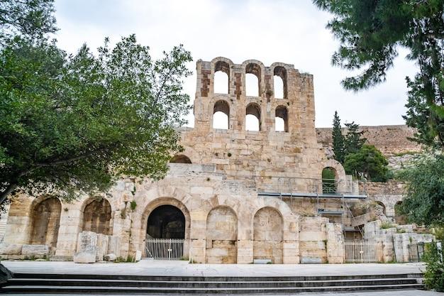 Muro norte del anfiteatro de atenas, grecia antigua