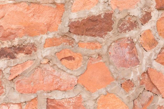 Muro de piedra roja al aire libre de fondo y textura de piedra pizarra decorativa