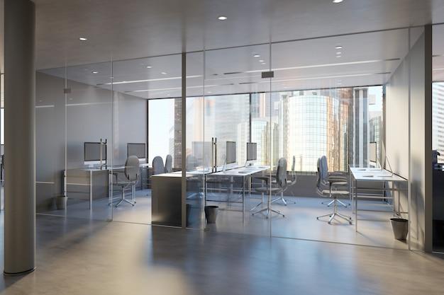 Muro de vidrio de la oficina - representación 3d