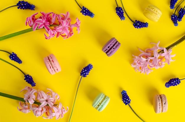 Muscari azul, rosa jacinto y macarons o macarrones. no hay día de dieta. colocación plana, vista superior