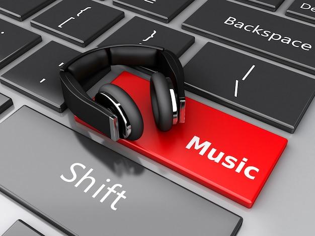 Música de la palabra 3d con los auriculares en el teclado de la computadora.
