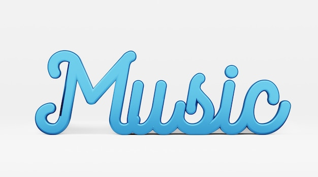 Música una frase caligráfica logo 3d en el estilo de la caligrafía de la mano sobre un fondo blanco.