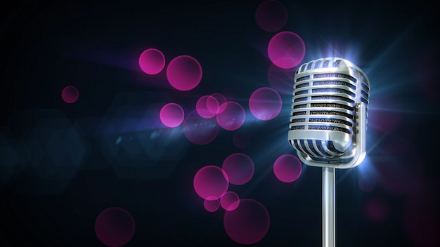 Música retro micrófono giro partícula color púrpura