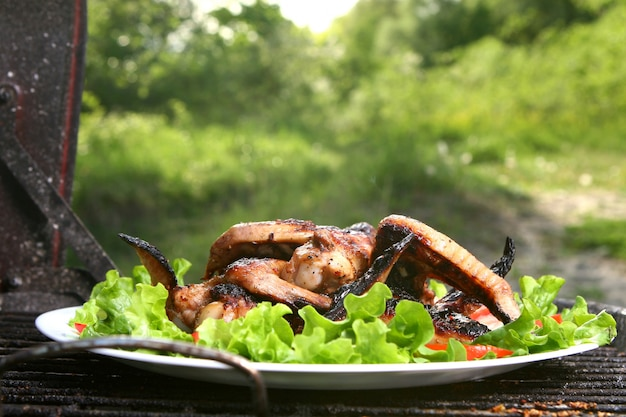 Muslos de pollo a la parrilla con verduras