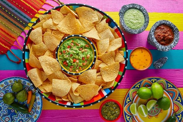 Nachos con guacamole y chips de tortilla sombrero.