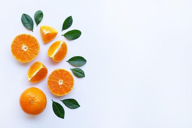 Naranjas y hojas verdes sobre fondo blanco.