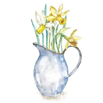 Narciso de flores de primavera en jarra de esmalte mirando a los estantes ilustración de dibujado a mano de acuarela. diseño de pascua.