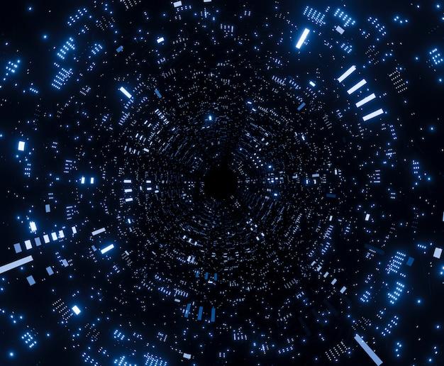 Nave espacial futurista del túnel en la representación 3d del universo