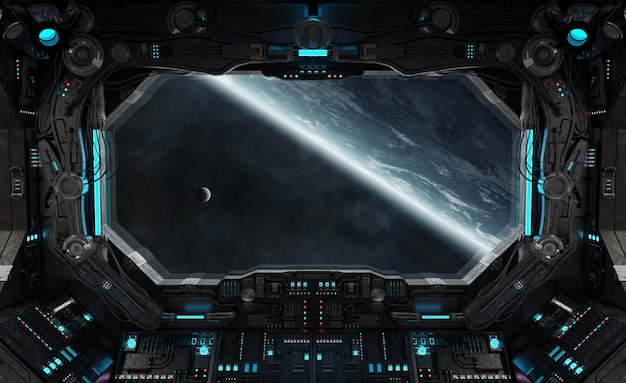 Nave espacial grunge interior con vista sobre el planeta tierra.
