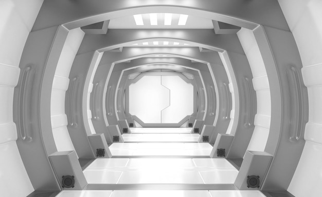 Nave espacial interior blanco y gris.
