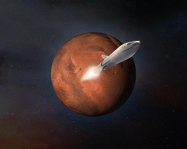 Nave espacial en el planeta marte.