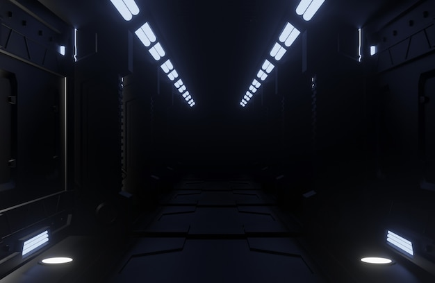 Nave espacial del túnel interior oscuro, corredor