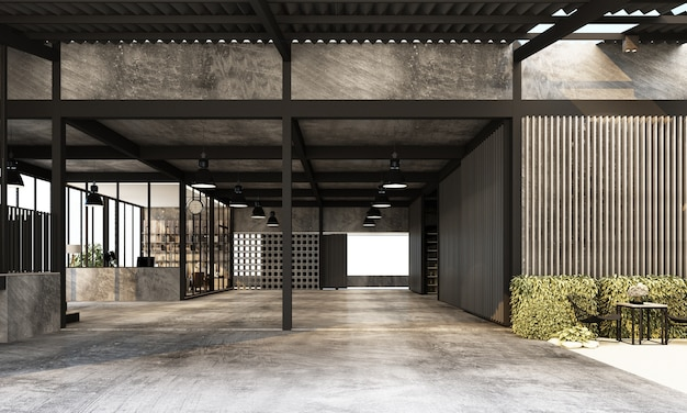 Nave industrial moderna con espacio de trabajo y sala de estar de fábrica con diseño de interiores de textura de hormigón y metal representación 3d