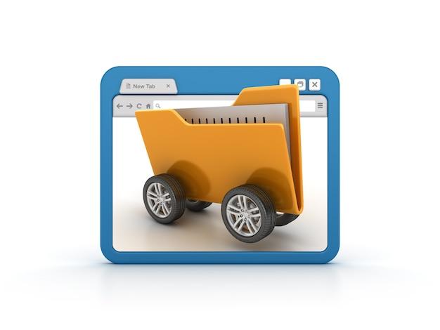 Navegador de internet con carpeta sobre ruedas