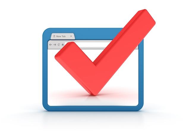 Navegador de internet con marca de verificación
