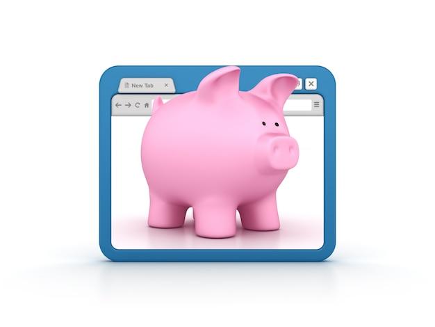 Navegador de internet con piggy bank