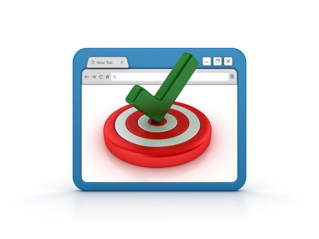 Navegador de internet con target y marca de verificación