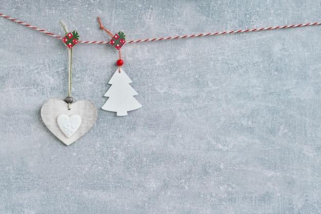 Navidad. decoración navideña en gris.