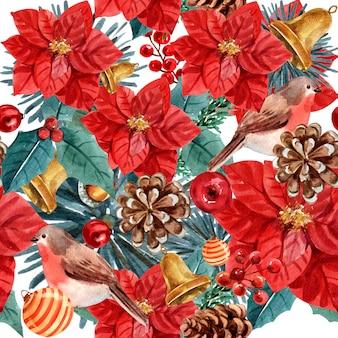 Navidad floral acuarela de patrones sin fisuras.