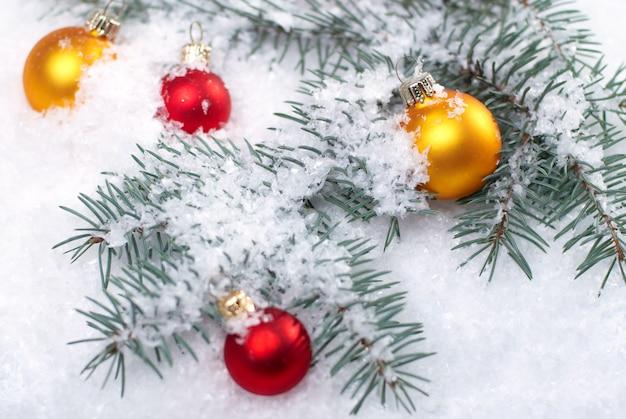 Navidad hermosas bolas amarillas y rojas con rama de abeto y nieve sobre fondo blanco.