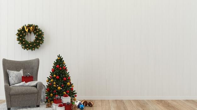 Navidad madera pared piso árbol plantilla fondo decoración 3d interior