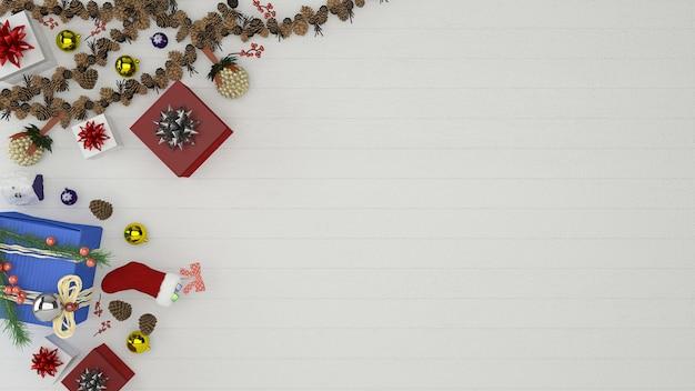 Navidad madera pared piso árbol plantilla fondo decoración 3d