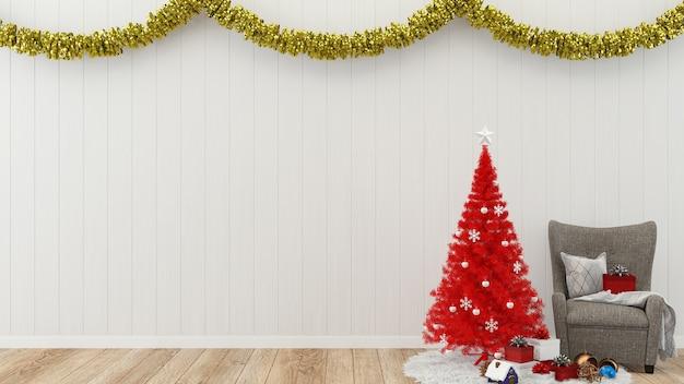Navidad pared decoración madera pared piso interior interior fondo regalo caja árbol plantilla