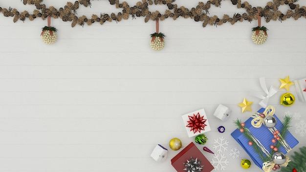 Navidad pared decoración madera pared piso interior maqueta fondo regalo caja árbol plantilla