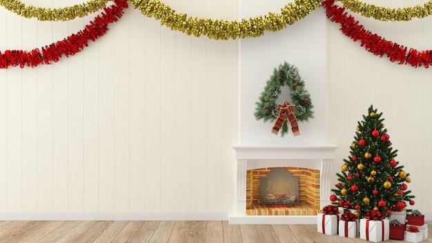 Navidad pared madera interior 3d render plantilla árbol de navidad caja de regalo
