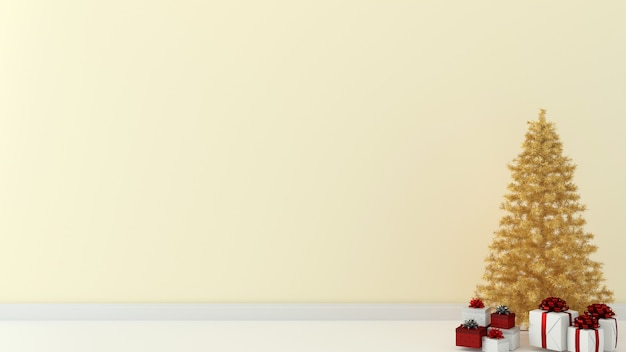 Navidad pared madera interior 3d render plantilla árbol de navidad