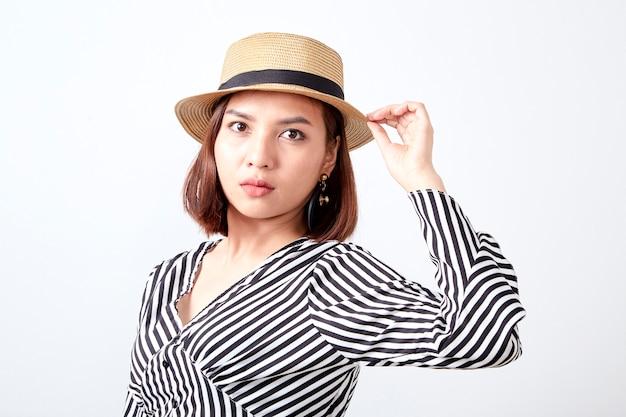 Negocio asiático de la mujer joven del retrato