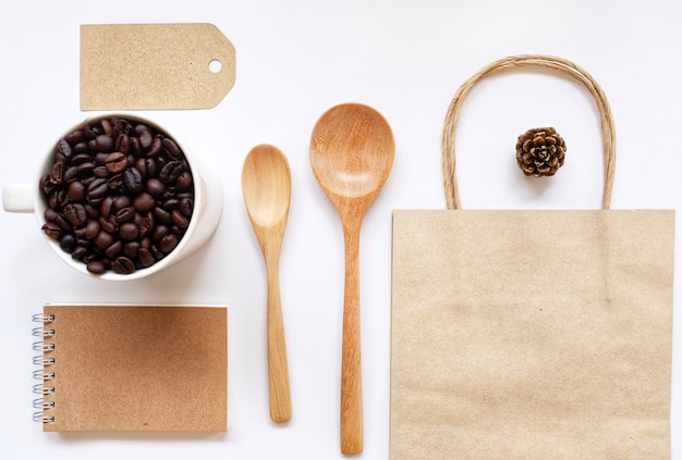 Negocio y café identidad maqueta conjunto de elementos