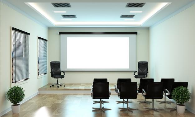 Negocio de oficina: sala de reuniones y mesa de conferencias, estilo moderno.