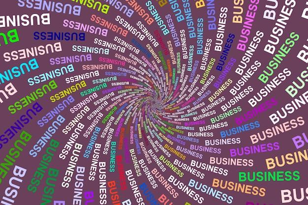 Negocio de palabra de textura multicolor sobre fondo de color
