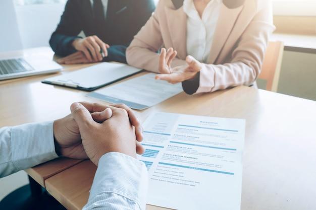 Negocios, concepto de entrevista de trabajo.