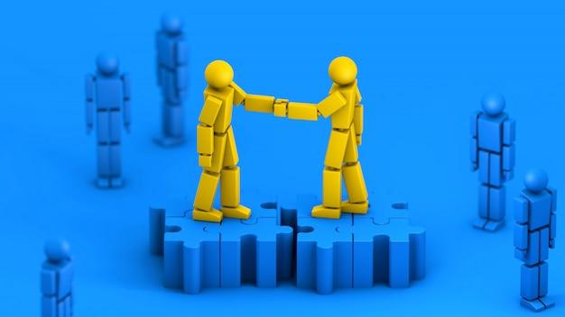 Negocios de fusiones y adquisiciones, apretón de manos se unen en piezas de rompecabezas, representación 3d