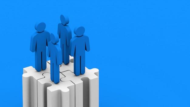 Negocios de fusiones y adquisiciones, unirse en piezas de rompecabezas, renderizado 3d